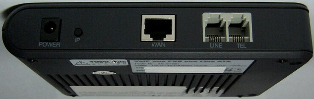 Soyo G1681 (PA168V/AG-168V) 1-port FXS gateway back view.